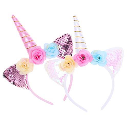 Minkissy 2pcs diademas de unicornio, lindas lentejuelas brillantes orejas de gato diademas de unicornio para fiesta de cumpleaños