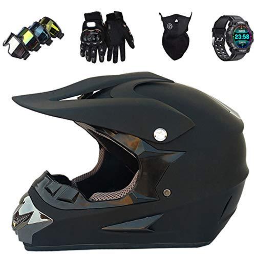 LCRAKON Casco de Moto Niños Adultos Casco de Motocross Integrales con Gafas Guantes Máscara Reloj Inteligente Deportivo Impermeable IP68 para MTB MX ATV Offroad Dirt Bike Scooter - Certificación Dot