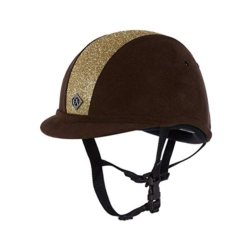 Charles Owen Sparkly YR8 Riding Hat 58cm Brown and Gold