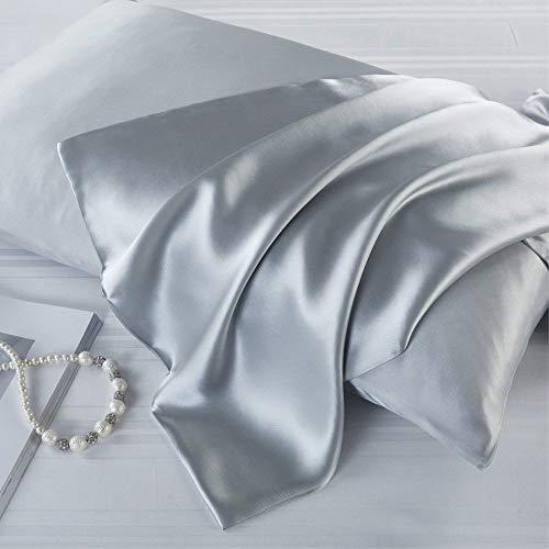 YAOUFBZ Eisseiden-Kissenbezüge,48 * 74 Zwei-Pack-Satin-Kissenbezüge,die hautfreundlich und feucht sind,damit sie Sich im Sommer kühl und im Winter warm anfühlen. Gesichtshaut