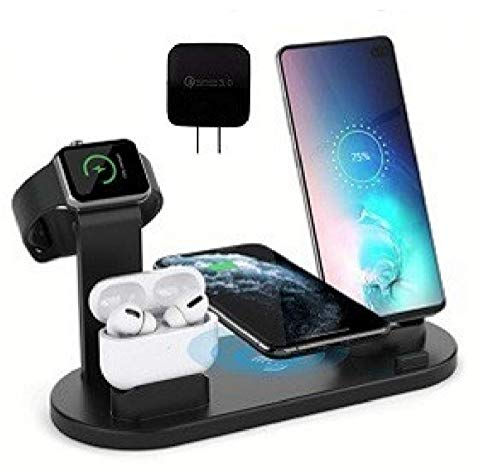 [2020 Newest] 4 in 1 Wireless Charger (QC3.0 Adaptor Included) KG8 Fast Charging Station for iPhone 12/Pro/11/Pro/XS/XR/8, iWatch 4/3/2/1, AirPods/Pro