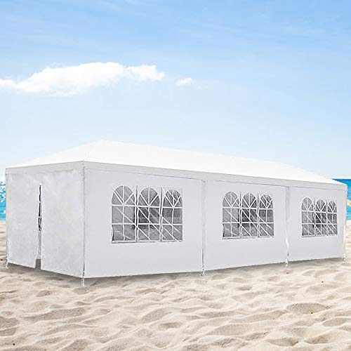 10'x30' Outdoor Canopy Party Wedding Tent,Sunshade Shelter,Outdoor Gazebo Pavilion with Removable Sidewalls Easy Set Gazebo BBQ Pavilion Canopy Cater Events (White/ 8 Removable Sidewalls)