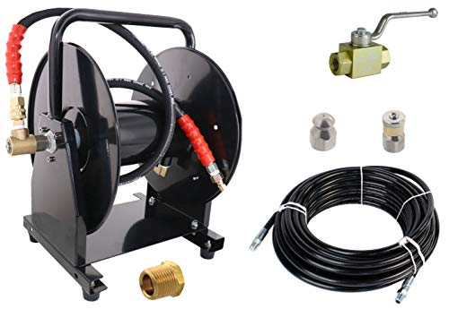 "Scheiffer Sewer Jetter Kit - Ball Valve Hose Reel 1/4"" x 200' Hose and Nozzles"