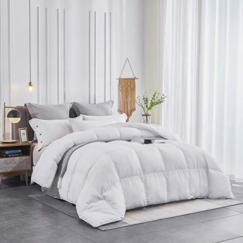 SNUGEESE HOME White Goose Down Alternative Comforter King Duvet Insert Checker Grid Comforter Warm and Comfortable for All Seasons