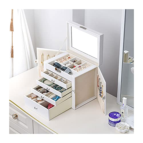 Caja de joyería Jewelry Box / Organizer, Caja de joyería con espejo con asa, Caja de almacenamiento de viaje de cuero suave de alta capacidad para pulseras, collares, anillos, pendientes Organizadores