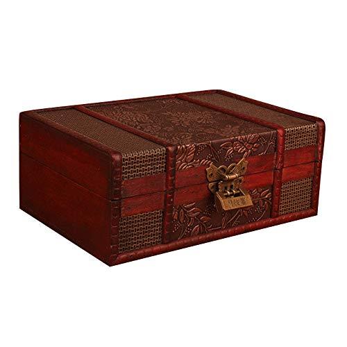 YBWEN Caja Decorativa Caja de Almacenamiento de exhibición de la joyería Caso del Cofre del Tesoro de Madera de la joyería Cajas de Almacenamiento (Color : Dark Red, Size : 23×16×9.5cm)