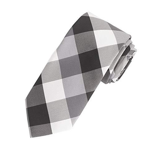 Amazon Essentials Men'sClassic Plaid Necktie, Black, One Size