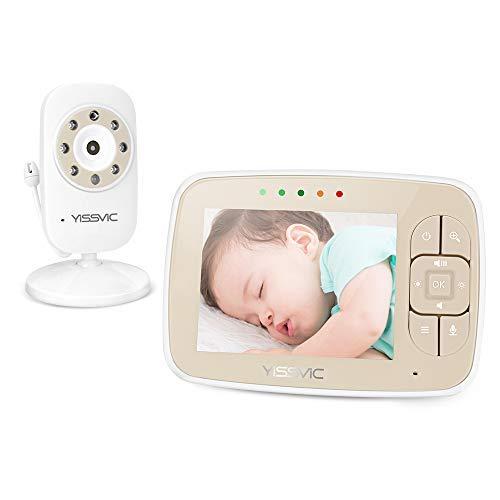 YISSVIC Babyphone Bébé Moniteur 3,5 Inches LCD Couleur Ecoute Bébé Vidéo Babyphone Caméra Surveillance Bidirectionnelle 2,4 GHz Vision Nocturne Support 4 Caméras