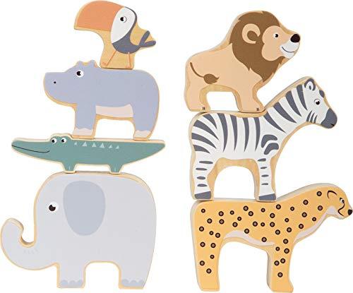 Small Foot 11704 Stapeltiere Safari, Stapel-und Balancierspiel mit Sieben Tierfiguren aus Holz, ab Zwei Jahren Toys