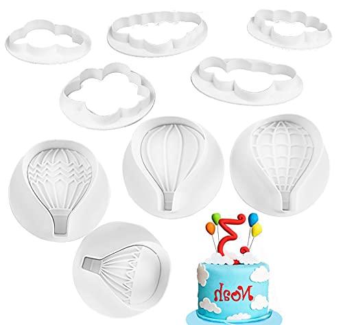 Kytpyi juego de cortadores de galletas, 9 piezas molde de globos cortadores de nubes cortador de galletas moldes para galletas para la decoración de pasteles fondant de pastelería de galletas