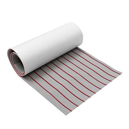 HUAHUA Alfombra Antideslizante de Mat Hoja Barco Gray Line Rojo + 5 mm de Espesor Actualiza Auto-Adhesivo de la Espuma de EVA Cubierta de Teca sintética imitación de Teca (Tamaño: 600x2400x5mm)