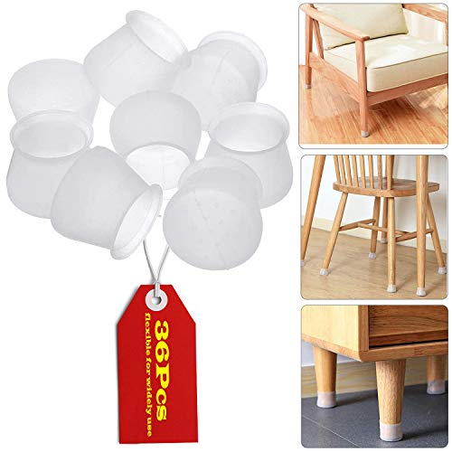 Furniture Silicon Protection Cover 36 Pcs Chair Leg Caps Silicone Floor Protectors for Round amp Square Furniture Feet AntiSlip Prevent Scratches and Noise Without Leaving Marks