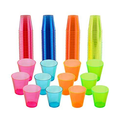 150 Vasos de Chupito de Plástico Duro, Vasos para Shots Neón, 30ml - Resistente y Reutilizable.
