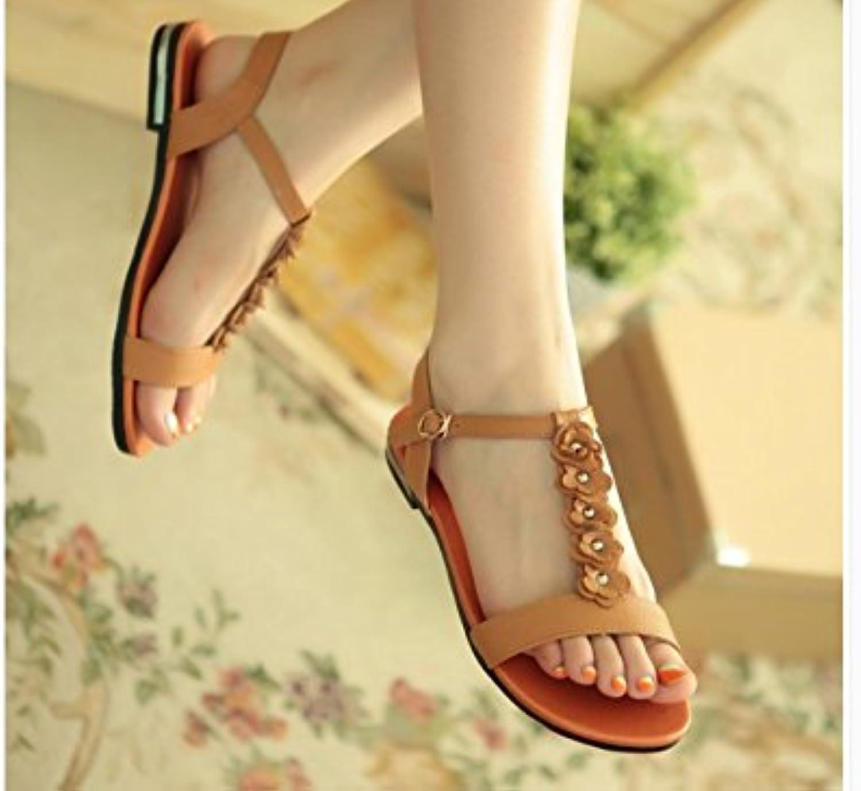 WHW Women's Sandals Summer Comfort PU Casual Flat Heel Crystal Sandals,33,Yellow