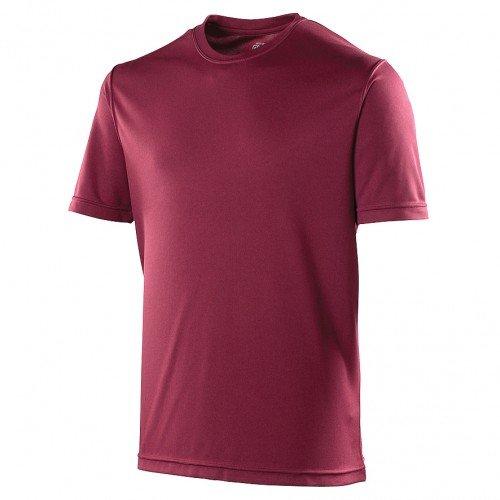 Just Cool - Camiseta lisa para hombre, Primavera-Verano, envolvente, Liso, Manga Corta, Hombre, color granate, tamaño XL
