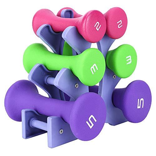 WYYY 6 PCS Mano Fitness Pesos Conjunto Soporte Rack 2lb 3lb 5lb Culturismo Equipo Equipo Equipo Fitness Pesos