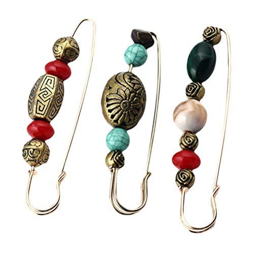 VALICLUD 3 Unids Collar Decorativo Pin de Seguridad Broche con Cuentas Vintage Cardigan Suéter Alfileres Pin de Solapa Grande Suéter Chal Clips para Mujeres Niñas