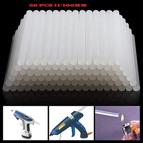 MorNon Pegamento Termofusible 50Pcs Barras Silicona para Pistolas de Palos de Pegamento Caliente 100 x 11mm Transparente