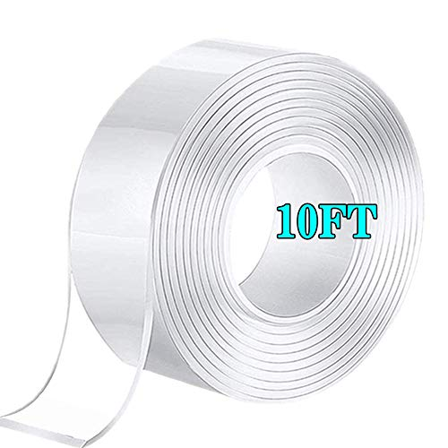 Cinta de Doble Cara lavable, Extraíble - Reutilizable Nano Tape, Transparente Adhesiva Doble Cara Extra Fuerte, Traceless Grip Tape para Hogar, Dormitorio y Oficina (10FT)
