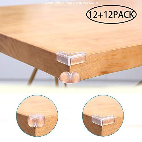 JEZOMONY-Eckenschutz (12 L-förmig + 12 kugelförmig), Kindersicherer Kantenschutz, 3M Vorgeklebte Ecken, für Eckabdeckungen für Schreibtisch und Möbel, Kindersicherung (12 + 12er Pack)