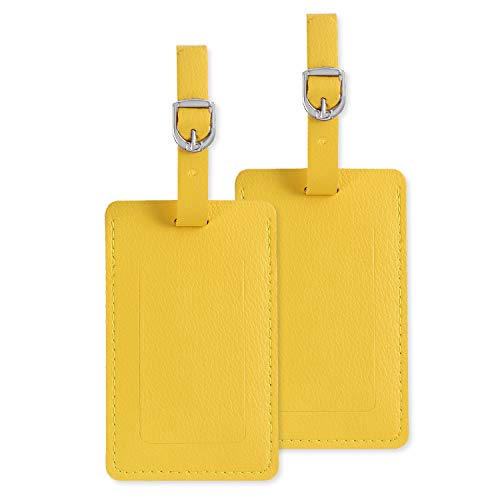 Luggage Tags, Leather Personalized Suitcase Tag Set Luggage id Tags Labels Travel Accessories-Set of 2(Yellow)