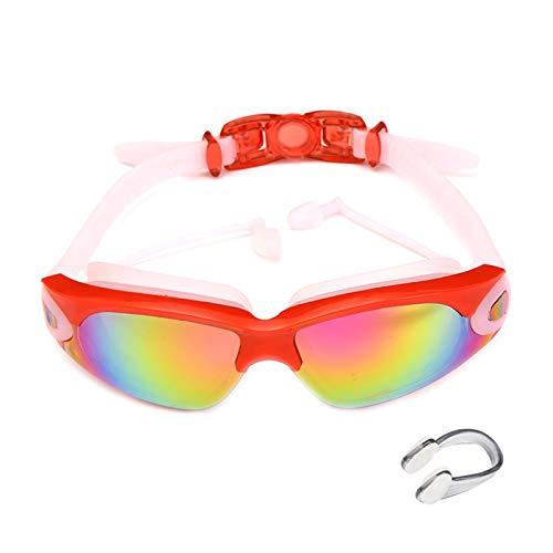 Cómodo Gafas de Natación Tapones para los oídos adjunta, Gafas Piscina Antiniebla Sin Fugas Protección UV, con Correa de Silicona Ajustables para Todo Tipo de Deportes Acuáticos(Color: Red)