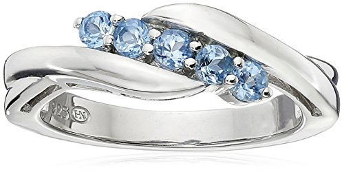 Sterling Silver Genuine Swiss Blue Topaz Five Stone Bypass Ring, Size 6