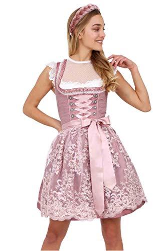 Krüger Dirndl Smilla 49595 50er Länge Rose | MADL-Dirndl in rosa mit Spitzenschürze | Spitze mit Pailletten | 50cm Rocklänge kurz (32)