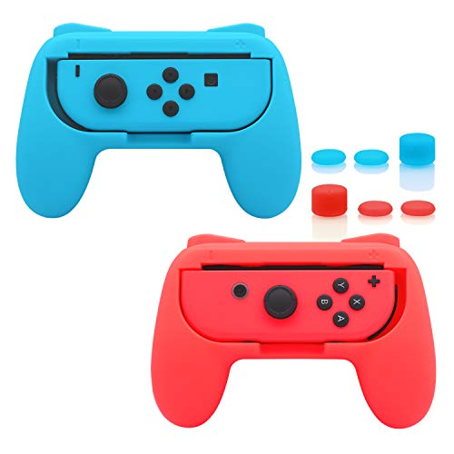 FastSnail Grips compatible with Nintendo Switch Joy Cons, Wear-resistant Handle, 2 Pack (Red and Blue)