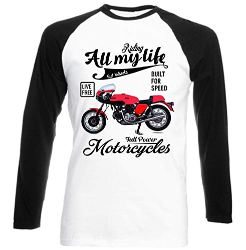 Teesandengines Ducati 750 Sport Full Power Motorcycles Camiseta de Mangas Negra largas T-Shirt Size Xxxlarge
