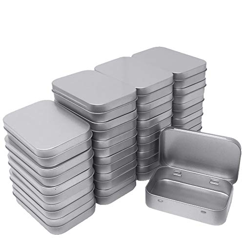 24 Pack Metal Rectangular Empty Hinged Tins Box Containers Mini Portable Box Small Storage Kit, Home Organizer, 3.75 by 2.45 by 0.8 Inch Silver