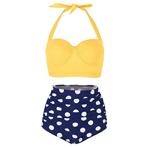 WOCACHI Womens Polka Dot High Waist Swimsuit, Bikinis Swimwear Female Retro Beachwear Conservative Bikini Set 2020 New Summer Deals Under 10 Dollars Beach Bathing Suit