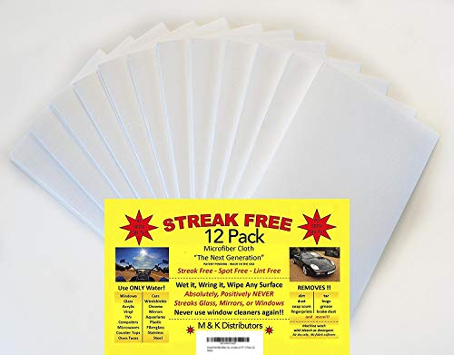 "Streak Free Microfiber Cloth ""As Seen on Tv"" 12 Pack - Perfect for Glass, Windows, Cars, Electronics"