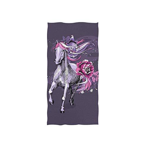 N/A Magische Violet Paard Eenhoorn met Exotische Bloemen Handdoeken Zachte Zeer Absorberende Grote Handdoeken 15 x 30 inch Vingertip Handdoeken Badhanddoek Multiprupose voor Hand Gezicht Badkamer Gym Hotel Spa