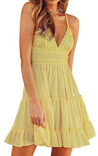 ECOWISH Sukienka damska z dekoltem w kształcie litery V, z ramiączkami, odsłonięte plecy, sukienka letnia, sukienka plażowa, biała