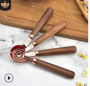 DMFSHI Küchen Messlöffel Set, 4 PCS Messlöffel Edelstahl, Edelstahllöffel Werkzeuge Zum Messen Trockener Flüssiger Zutaten Backen Kochen, Walnussgrifflöffel