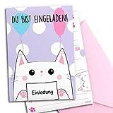 12x Einladungskarten zum Kindergeburtstag mit rosa Umschlägen | Kitty-Katze | Mädchen & Jungen | Geburtstagseinladungen Kinder Mädchen Partyeinladungen Geburtstag | Einladungen Übernachtungsparty