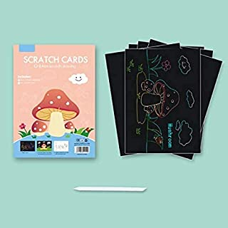 Drawing Toys - Saizhi 10 Sheets Magic Color Rainbow Scratch Art Paper Card Set with Graffiti Stencil for Drawing Stick DIY...