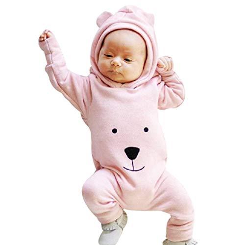 Covermason Babykleidung,Neugeborenes Baby Junge Mädchen Mit Kapuze Karikatur Spielanzug Overall Strampler Jumpsuit (0-6M, Rosa)