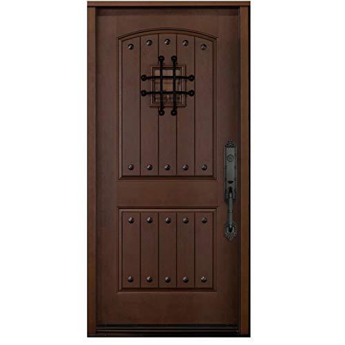 exterior doors Dark Walnut Fiberglass Doors,Front Entry Double Doors with Speakeasy Single Exterior Door (Left Hand in Swing, FMKA36X80)