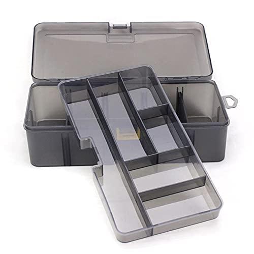 Caja Herramientas Caja de herramientas de doble capa multifunción Caja de almacenamiento Multifuncional Organize de pesca Tornillos de señuelo Tuercas cinta métrica Home Clear Toolbox Set de Herramien