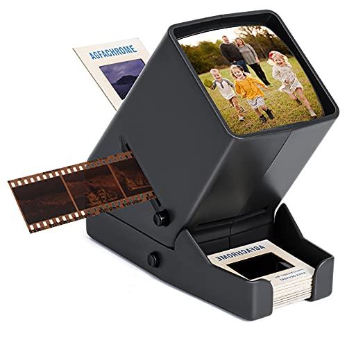 DGODRT Proiettore di diapositive e negativi da 35mm, LED Visualizzatore di diapositive mobili con Ingrandimento 3X