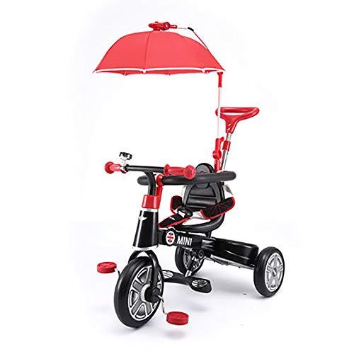 SHARESUN Smart Design 3-in-1 Kinderdriewieler 3 Wiel Bike Ouders Handvat, Met parasol & veiligheidsbarrière Kids Trike, voor 10-48 maanden Baby