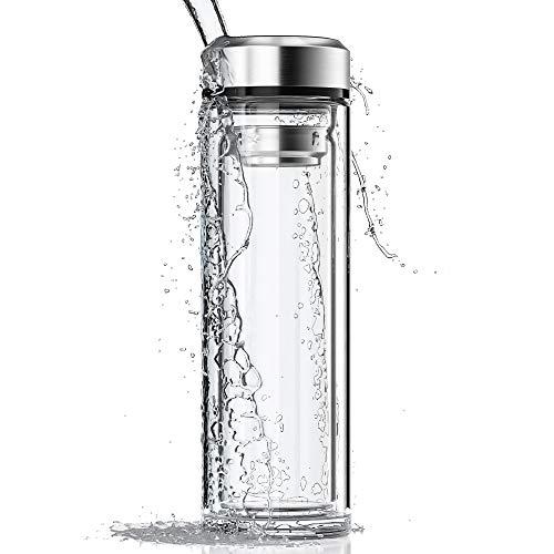 LA VIDA AQUA Glasflasche 1 Liter - Saftflasche für Deine Smoothies I Doppelwandiges Glas für Teeflasche mit Tee-Filter to go I Glas-Trinkflasche mit Schutzhülle für unterwegs