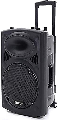 """Port12VHF 700W Altoparlante Amplificato Portatile 12""""/30cm Impianto Audio Cassa Attiva con 2 Microfoni,Telecomando,Batteria Integrata,Supporto per lettore BT/MP3/USB/SD/AUX/FM/Guitar Inputs."""