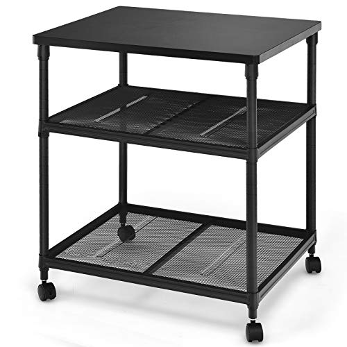 Tangkula 3-Tier Printer Stand Printer Cart, Multifunctional Utility Cart w/ Ample Storage Space, 360° Swivel Rolling & Lockable Wheels, Sturdy Iron Frame, Adjustable Heights, Organizer for Office
