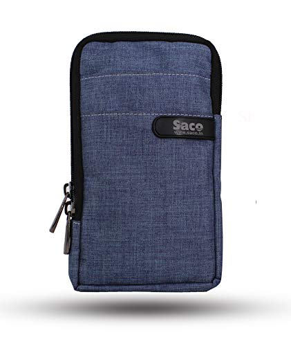 Saco Multipurpose Holster Premium Men/Woman Travel Bag Vertical Pouch with Belt Loop and Shoulder Straps Portable Carry for Mobile, Earphone, Money and Cards – (Blue)