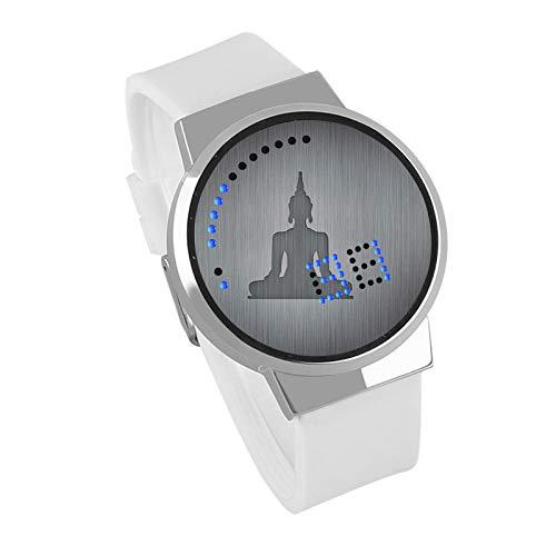 Armbanduhren,DIY Kreative Benutzerdefinierte Touchscreen LED Uhr Buddha Wasserdicht Leuchtende Elektronische Uhr Silberrahmen Leukorrhoe