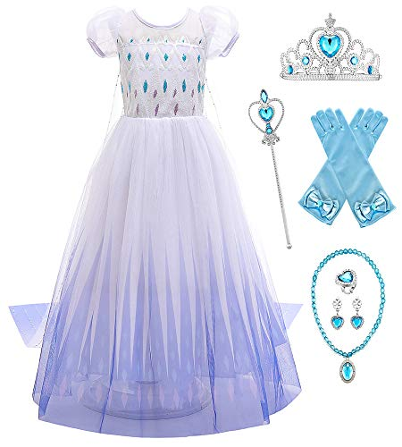 O.AMBW Cosplay Frozen Reina Elsa Vestido Blanco y Azul Capa Larga con Lentejuelas Manga de Soplo Cosplay Princesa Disfraz con Accesorios Regalo de cumpleaños Disfraces para niñas 2-10 años