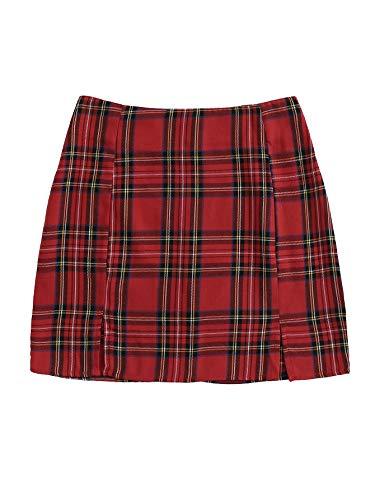 WDIRARA Women's Plaid Skirt High Waist Split Front Zip Up Mini Bodycon Skirt Red S